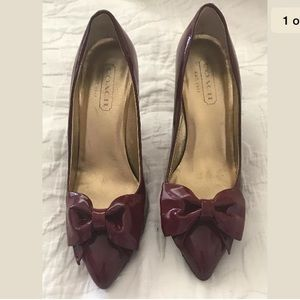 Coach crimson red patent leather bow tulip heels
